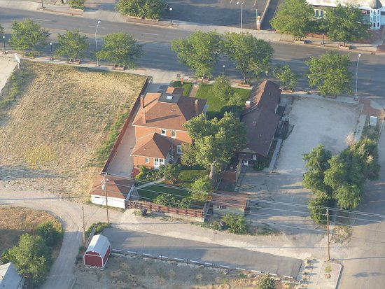 The Bishop House: Solar Eclipse Aerial View of Historic Bishop Home