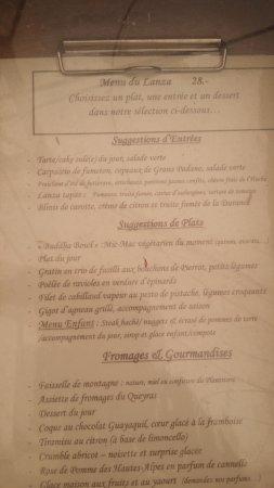 Abries, France: Le menu