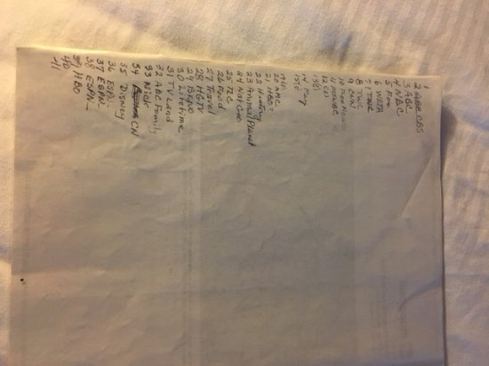 Strasburg, Вирджиния: Hand written TV Chanel list. Extremely unprofessional-indicative of lack of pride by operator