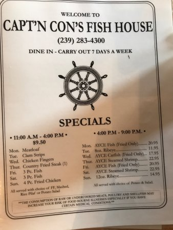 Bokeelia, FL: Grouper and front page of menu