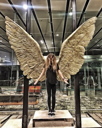 angel wings statue picture of dfs singapore changi airport