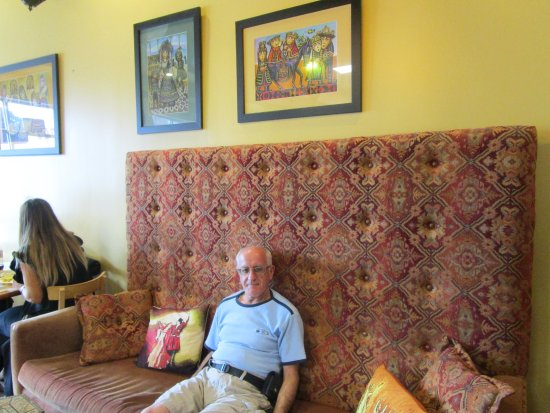 Cranston, RI: Louis sitting on the couch at Sonia's.