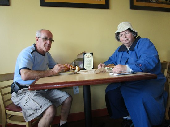 Cranston, RI: Louis and I eating our meals.