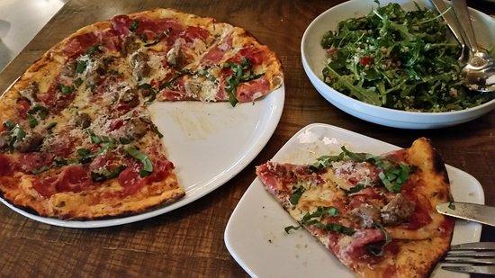 Sicilian pizza and Arugula salad - Picture of California Pizza ...