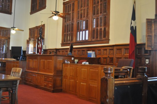 La Grange, TX: Interior of the district courtroom Fayette County Courthouse.