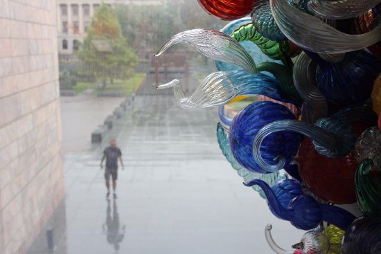 """Joslyn Art Museum: A side view of """"Inside & Out"""" 2000, Chihuly while looking out the window."""