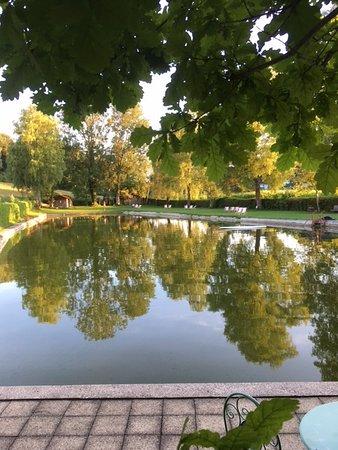 Blick vom Gasthaus auf das gepflegte große Naturschwimmbad