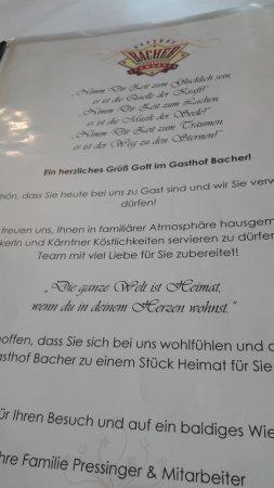 Gasthof Bacher: SPEISEKARTE