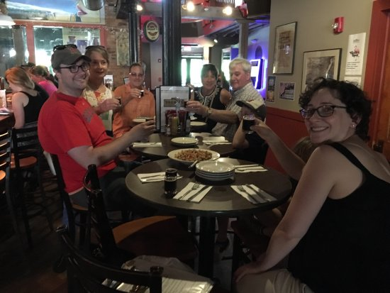 Troy, NY: Tour guests enjoying tea and beer plus pub food.