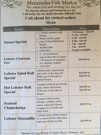 Menu Picture Of Menemsha Fish Market Tripadvisor