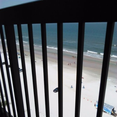 Holiday Inn Express and Suites Oceanfront: Balcony's view down; pelicans at eye level :D