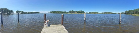 Marion Station, MD: the dock at the kingsbay waterside cottage