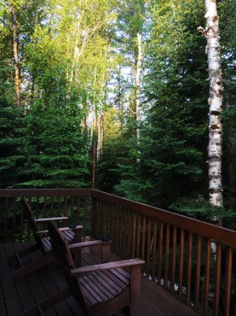 Sioux Lookout, Canada: Our cabin porch; lovely for morning coffee in the woods