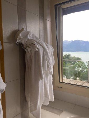 Hotel-Restaurant de la Rouvenaz: Used towels put back on rack!