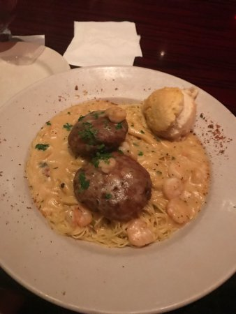 Copeland's of New Orleans: Menu, Hurricane drink and crab cakes/ shrimp alfredo dinner