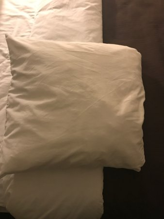 Sleep Inn: These pillows are smaller than throw pillows. They're on a king size bed. This makes no sense to