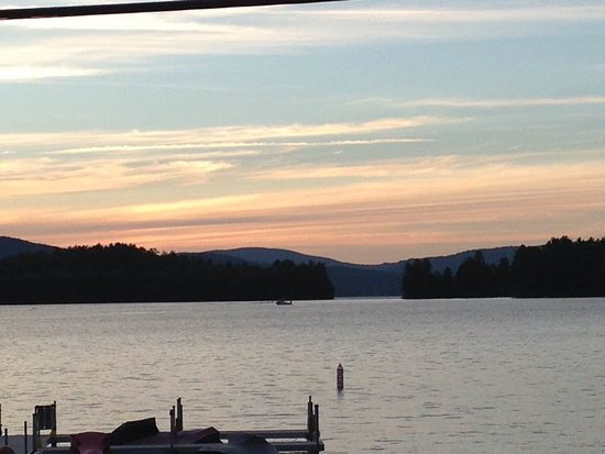 Bristol, NH: sunset on newfound lake from the big catch patio