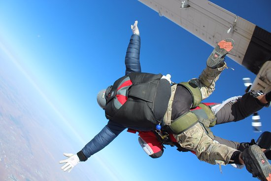 Eloy, AZ: Tandem jump. Your partner will tell you exactly what to do. Hardest part is jumping from the pla