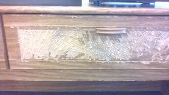 Heath, OH: Torn up furniture, housekeeper stated dog had tore this up& that room was listed as NOT to be re