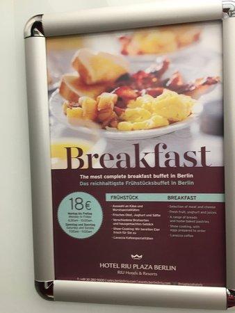 breakfast flyer in lift picture of hotel riu plaza berlin berlin