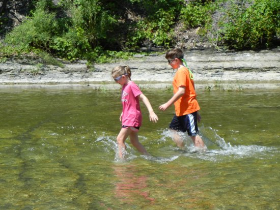 Trumansburg, Nowy Jork: The water is shallow in many areas and easy for kids to enjoy safely.
