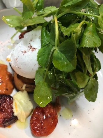 Aldgate, Australia: Soft poached eggs with roasted chorizo & chilli smash...