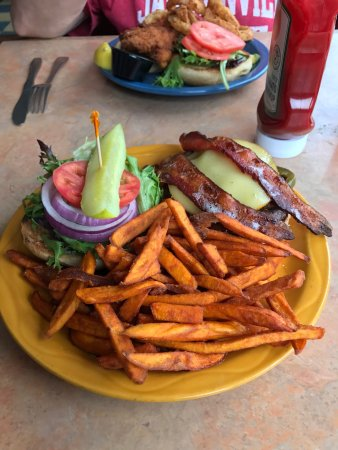 Newbury, NH: BBQ burgers and fish sandwich.