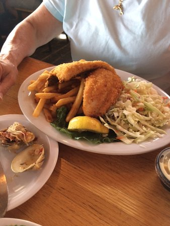Fried flounder dinner picture of dockside seafood market for Fish market virginia beach