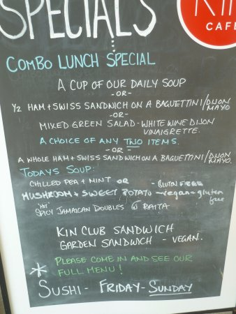 Bloomfield, Canada: KIN Cafe daily menu