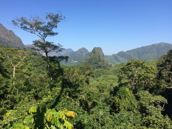 Nong Khiaw, Laos: View from one of the ziplining platforms