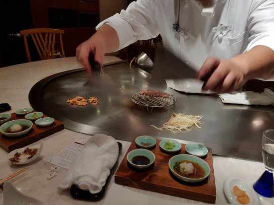 Chef Kazushi Ise at the Teppanyaki Himorogi at the Kyoto Brighton Hotel