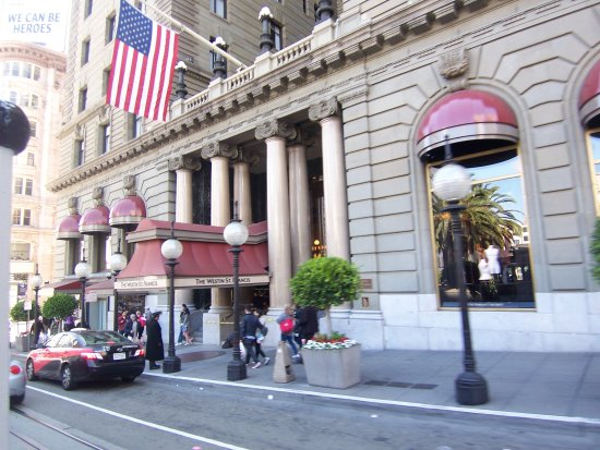 The facade of the Marines Memorial Club Hotel in Downtown San Francisco.