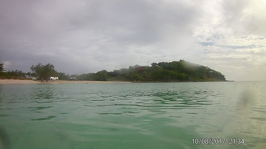 Jolly Harbour, Antigua: View from.the sea looking back on the beach