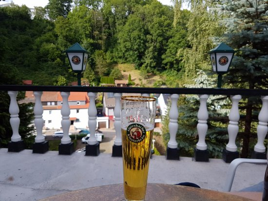 Alpirsbach, Германия: The view from the terrace, accessed beyond reception.