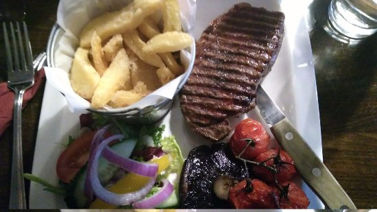 The Nook: Sirloin steak (without onion rings for Gluten Free option)