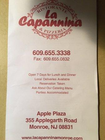 Monroe, NJ: LaCapannina Take out menu. Formally La Villa