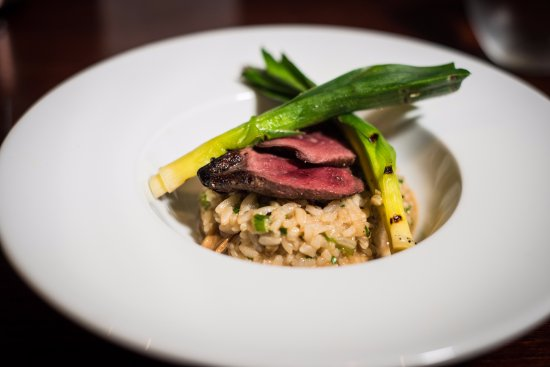 Brighouse, UK: Wood Pigeon Breast, Baby Leeks, Cep Mushrooms and a Truffle Risotto.