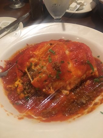 A delicious large portion meat Lasagna at Lacapannina in Monroe, NJ
