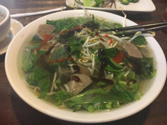 Bowl of Pho: Raw Steak and Meatball Pho
