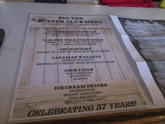 Welsch's Big Ten Tavern: Supper Coub Menu