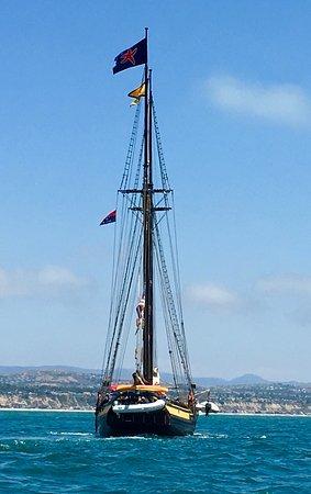 """""""Spirit of Dana Point"""" outside DANA PT HARBOR (Tallship is 118 ft long, rig height of 100 ft)"""
