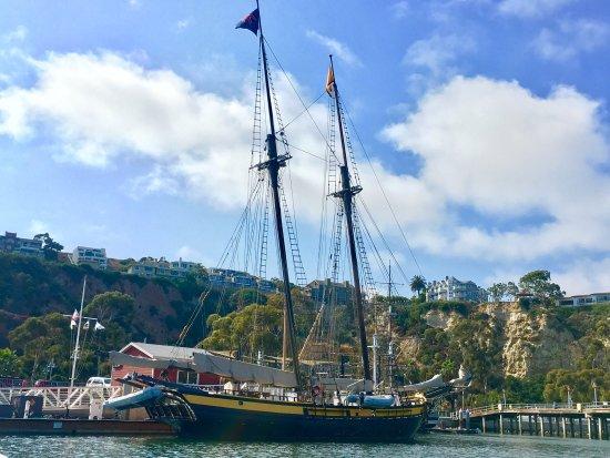 """""""Spirit of Dana Point"""" docked in DANA POINT HARBOR (Tallship is 118 ft long, rig height of 100 f"""