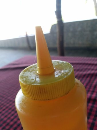 Anjuna, India: The spider web on the ketchup bottle. Real badly maintained property...