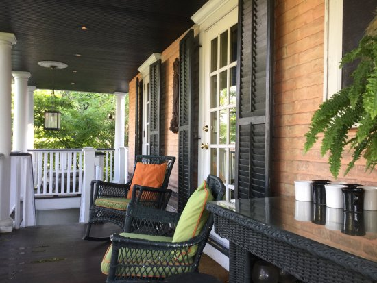 Porches on the Towpath: Two rocking chairs right outside our door to the porch.