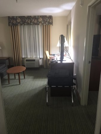 Holiday Inn Express Downtown Richmond: Upon entering the room (has a living room and a separate bedroom), you see the TV, desk, and sof