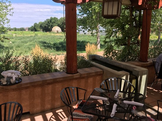 Farm and Table: View of Sol Harvest Farm from patio. Notice the water features that quietly run throughout patio