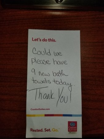 Independence, MO: Our note left for housekeeping