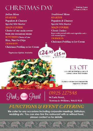 Newton Le Willows, UK: Christmas 2017 menu. £24.95pp but £3 off if you book before 15th October 2017.
