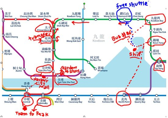 Hong Kongs MTR metro map with some locations including the cruise