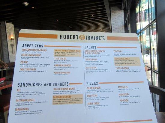menu robert irvine s public house las vegas nevada picture of